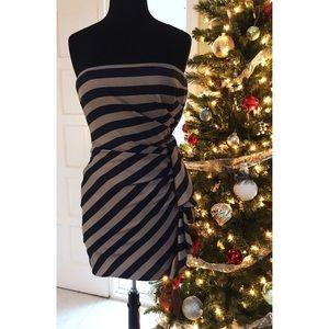 BCBG MaxAzria strapless navy/taupe dress